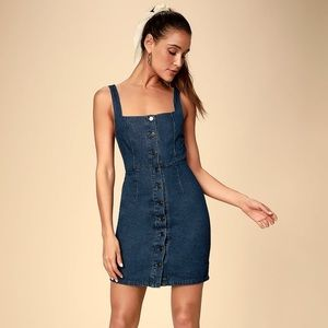 Lulus Dark Wash Denim Button-Front Mini Dress